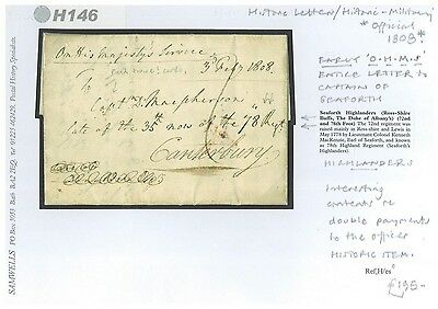 DBH146 1808 EARLY OHMS Official Letter EL Captain Seaforth Highlanders Kent