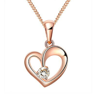 925 Sterling Silver Rose Gold Heart Pendant Necklace with '16 - 18 Curb Chain