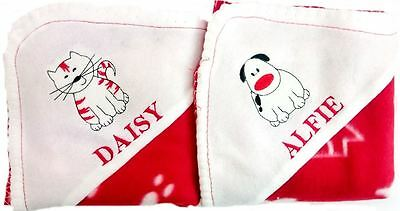 Embroidered Christmas Red Blanket Paw Print Name Animal Cosy Gift Stocking Sack