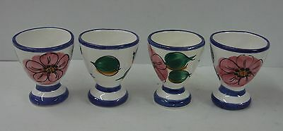 Pier One 1 ROSE Set of FOUR Egg Cups FLORAL FLOWER PATTERN