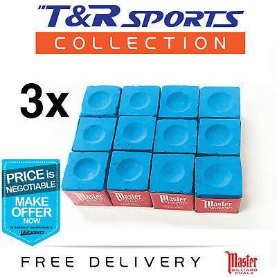 New! 3 Boxes (36 Pieces) Blue Master Billiard Snooker Pool Chalk Free Delivery!
