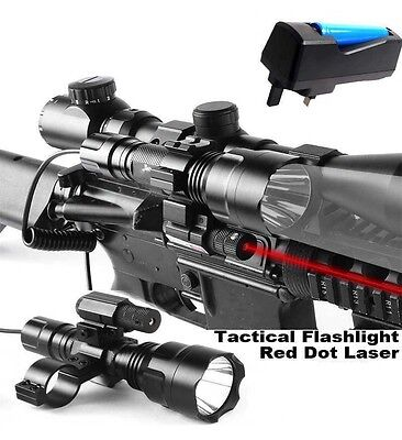 Cree XML T6 Tactical Scope Mount Light Lamp Red Dot Laser Rifle+Charger+Battery