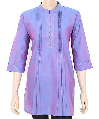 Ethnic Indian Cotton Double Shade Blue Kurta Kurti Top Tunic SHORT LENGTH 903130
