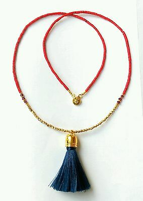 Afghan Natural Coral & Garnet with Blue Fabric Tassel Tiny Seed Beads Necklace