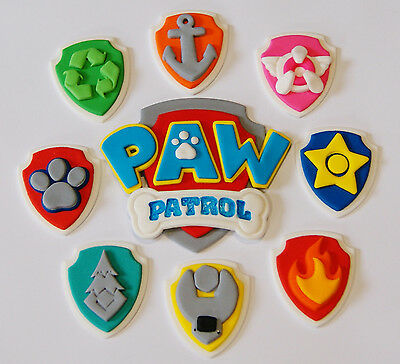 Paw Patrol Cup Cake Toppers X 8  **with Paw Patrol Logo Centre Piece**