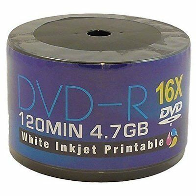 Aone 50 Pack Blank DVD-R White Full Ink Inkjet Printable Disc Media 16x 4.7GB