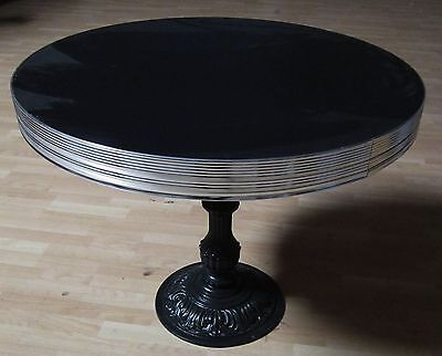Retro Black Dining Diner Dinette Dinner Table with Cast Iron Antique Base