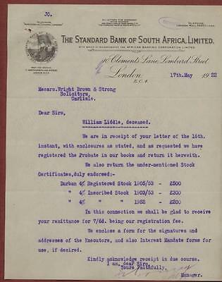 The Standard Bank of South Africa, Limited 1922. William Liddle, Carlisle  yl.6
