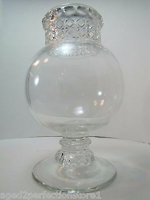 Antique Apothecary Candy Jar pedestal rnd drug store pharmacy thumbprint diamond