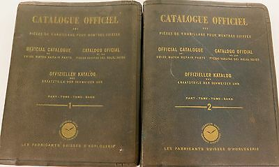 1949 Vol 1 & Vol 2 Official Catalouge Of Swiss Watch Repair Parts. 4 Languages.