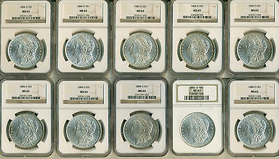 10 COUNT LOT OF 1884-O Morgan Silver Dollar  - NGC MS 63 GREAT INVESTMENT!