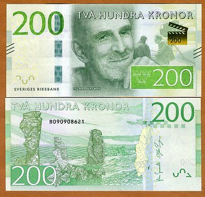 Sweden, 200 Kronor, 2015, Pick New, Redesigned UNC