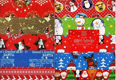 15 Sheets Christmas Gift Wrapping Paper Flat Wrap Assorted Design No Roll