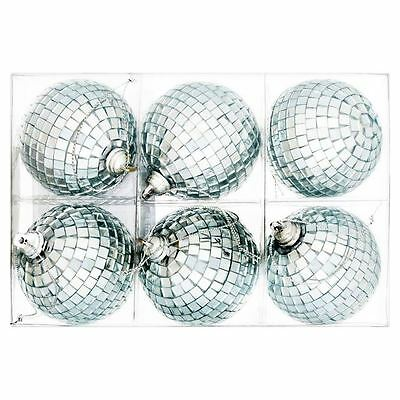 6 Xmas Tree Mirror Ball Baubles Party Decorations 60mm Mini Disco Silver Craft