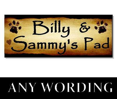 Personalised CAT NAME Plaque Sign tower cattery house bed food bowl collar play