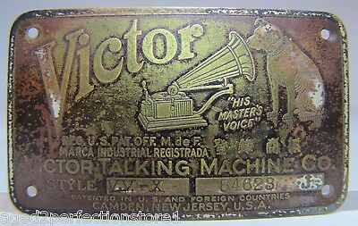 Antique Victor Talking Machine Co Brass Nameplate Sign Nipper His Master's Voice