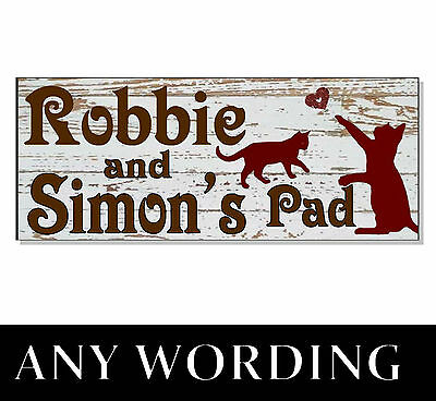 Personalised CAT NAME Plaque Sign tower cattery house bed food bowl Shabby Chic