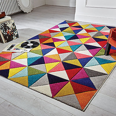 Small Medium Large 10-12Mm Thick Soft  Multi Colour Carved Stripe Diamond Rugs