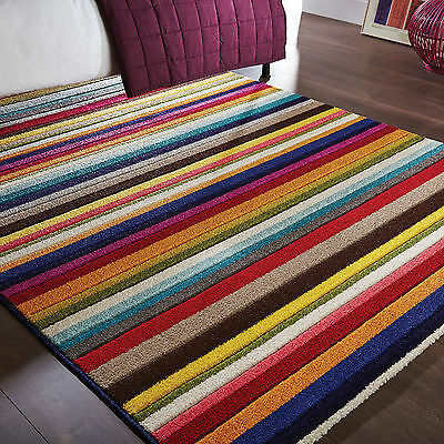 Modern Medium Large Thick Soft  10-12Mm  Multi Colour Carved Stripe Diamond Rug