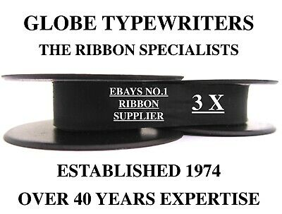 3 x 'SILVER REED SR500' *BLACK* TOP QUALITY *10M* TYPEWRITER RIBBONS + *EYELETS*