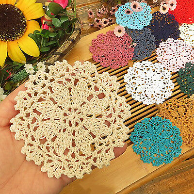 NT 5 Pcs Vintage Floral Hand Crochet Handmade Doily Table Hollow Cup Mat Pad