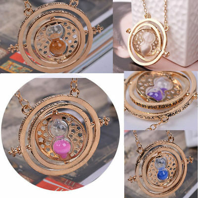 Harry Potter Time Turner Hermione Granger Spins Hourglass Sand Necklace TOP