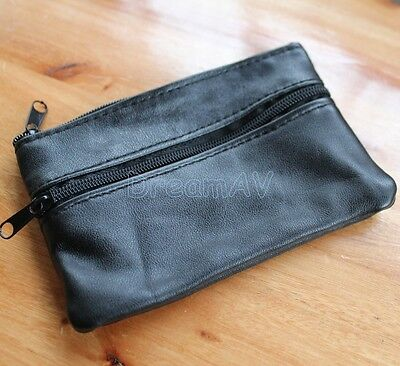 Black Pocket Real Soft Leather Coin Purse Small Change Zipper Earbuds TF SD Card