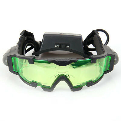 LED Adjustable Night Vision Glass Goggles with Filp-out Light Windproof Hunting