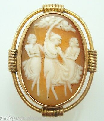 14K Gold Genuine Natural Shell Cameo Ring With The Three Graces (#3032)