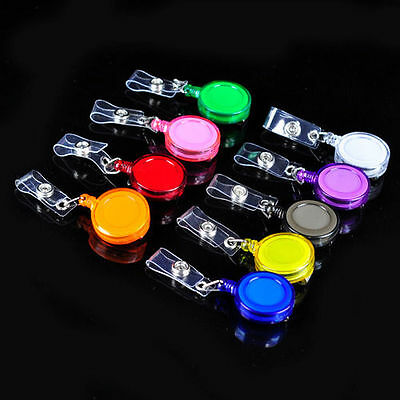 5PCS Round Reel Retractable Recoil YOYO ID Badge Card Holder Key Tag Clip