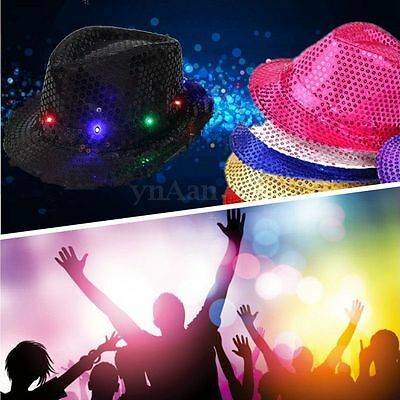 Sexy Flashing LIGHT HAT LED Fancy Dress Ball Sequin Trilby Christmas Party Disco