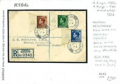 DBK184a 1936 Control Singles FDC Registered Tintwistle Manchester/Stockport