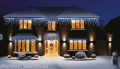 Premier 240 LED Blue & White Snowing Icicles Supabrights, Christmas Lights