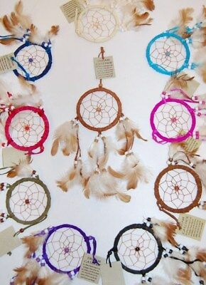 WHOLESALE 20 HANDMADE MIX COLOUR NATIVE DREAM CATCHERS SUEDE FEATHERS / dcle09