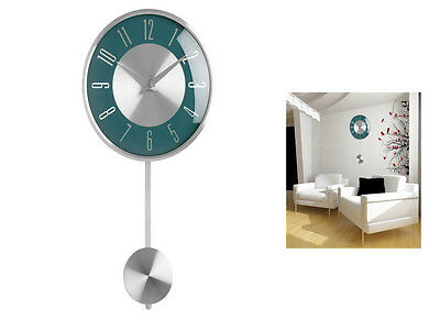 Blue Pendulum Wall Mounted Clock Polished Chrome Effect Decorative Modern Home