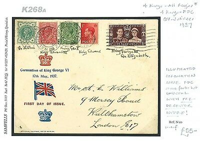 DBK268a 1937 Coronation Illustrated FDC Predecessor Mixed Reigns Issues