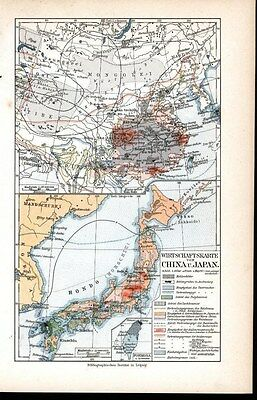 Economic View China & Japan Formosa 1904 antique color lithograph map