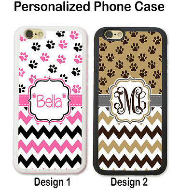 CUTE DOG PAW PRINT CHEVRON PERSONALIZED PHONE Case For iPhone XS XR X 8 7 6 SE 5