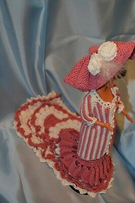 Pink and White Crocheted Victorian Dress with Doll