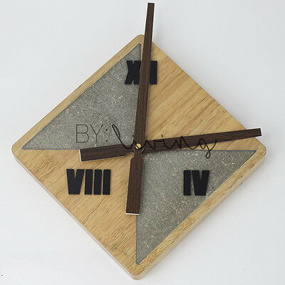 Modern Nordic minimalist Wooden Timber concrete cement clock