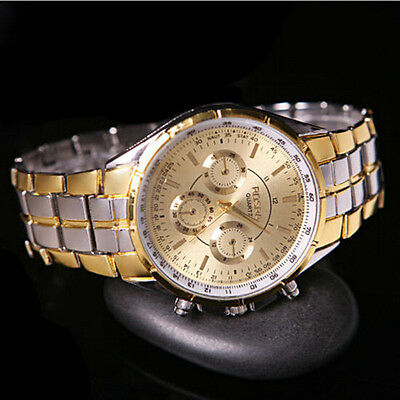 Luxury Men's Fashion Date Gold Dial Stainless Steel Analog Quartz Wrist Watches