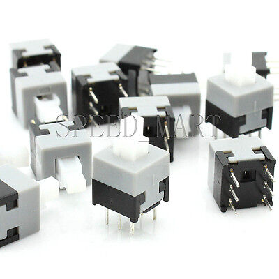 50 pcs High Quality Square Tact Push Button Switch Self-locking 6 Pins 8.5*8.5mm
