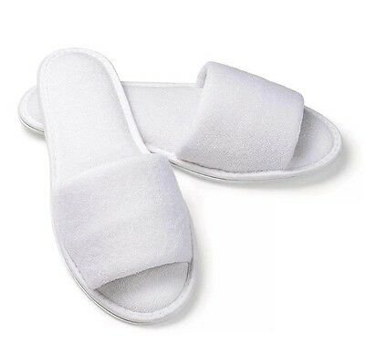 10 x Open Toe WHITE TOWELLING HOTEL SLIPPERS TERRY Spa Guest Disposable Stocklot