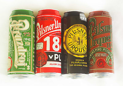 Pilsner Urquell Beer Cans. Limited edition. Set of 4. 2015. USA. 0.5 liter.Empty