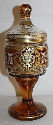 Antique french candy jar glass enamelled gilded hand 19th Century