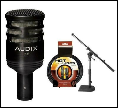 Audix D6 Dynamic Microphone, Cardioid with JamStands JS-KD50 Mic stand and cable