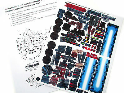'DIE CUT' REPLACEMENT STICKERS for STAR WARS POTF2 1995 MILLENNIUM FALCON -Elect
