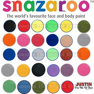 18ml SNAZAROO FACE & BODY PAINT MAKE UP COLOURS PAINTS FANCY DRESS 57 COLOURS