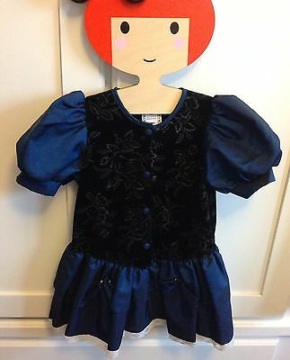 VINTAGE ADAMS VELVET Dress Christmas TRADITIONAL Navy Age 2-3 Party VGC