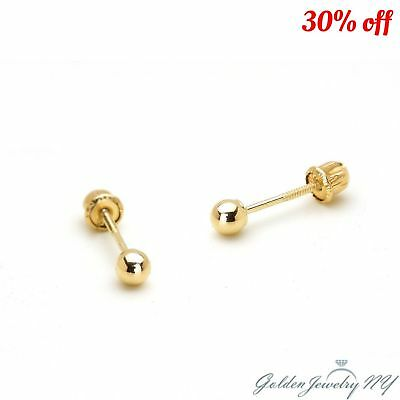 14K PURE Yellow Gold Ball Stud Earrings with Screw Back from 2MM - 7MM.